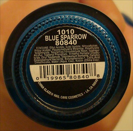 China Glaze Blue Sparrow Ingredients