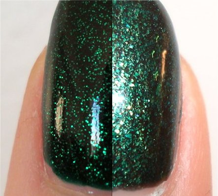 China Glaze Emerald Sparkle Swatch vs. Orly Meet Me Under the Mistletoe Swatch