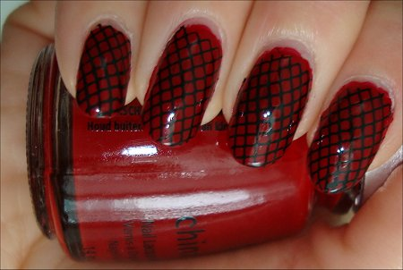 Black & Red Konad Nail Art