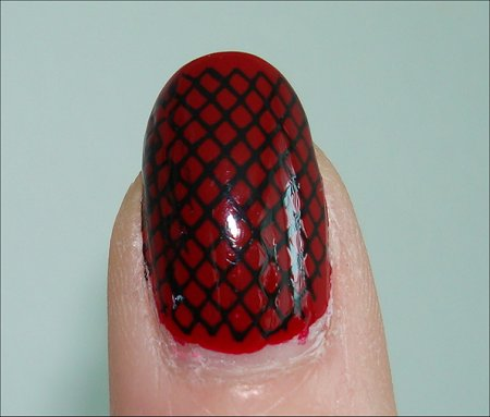 Red & Black Fishnet Konad Swatches