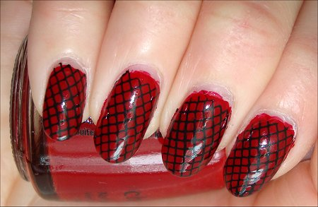 Red & Black Konad Nail Art