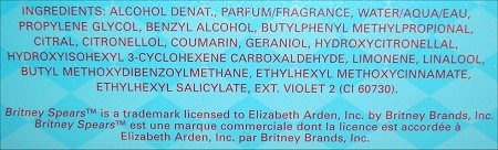 Britney Spears Circus Fantasy Ingredients