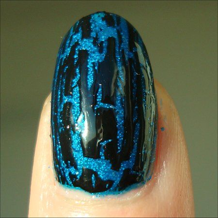 OPI Black Shatter Over China Glaze Blue Sparrow Swatches