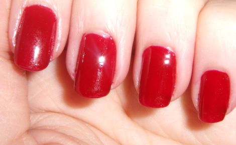 Swatch of e.l.f. Essentials Medium Red Nail Polish