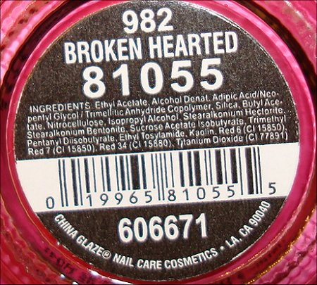 China Glaze Broken Hearted Ingredients