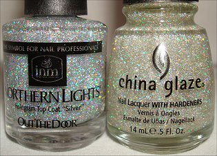 China Glaze Fairy Dust & Out The Door Northern Lights Silver Hologram Top Coat smaller