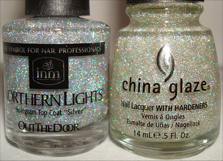 China Glaze Fairy Dust & Out The Door Northern Lights Silver Hologram Top Coat
