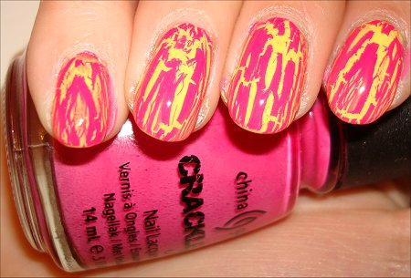 China Glaze Pink Crackle Polish Swatches Review