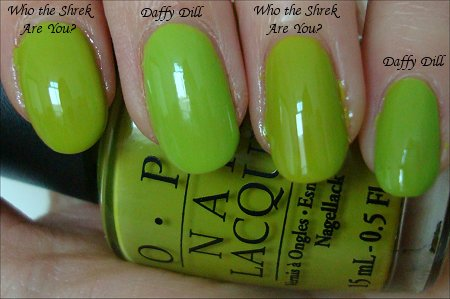 Nicole by OPI Daffy Dill & OPI Who the Shrek Are You Comparison Swatches