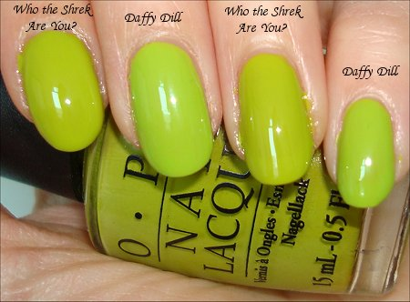 OPI Who the Shrek Are You  Nicole by OPI Daffy Dill Comparison Swatches
