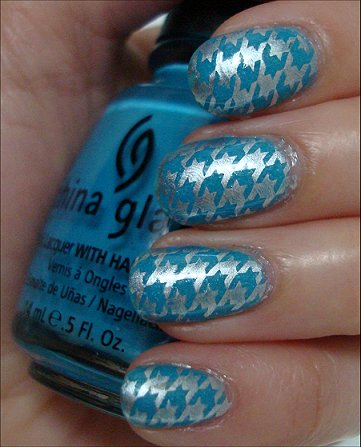 Houndstooth Konadicure Blue & Silver Swatches