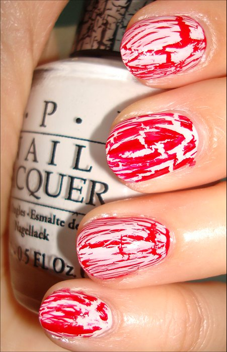 Canada Day Nail Art Swatches Using OPI Red Shatter & OPI White Shatter Polish