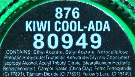 China Glaze Kiwi Cool-Ada Ingredients