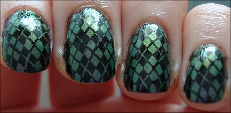 Konad m60 Nail Art with Nubar Indigo Illusion Swatches