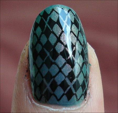 Nubar Indigo Illusion Swatch Argyle Nail Art