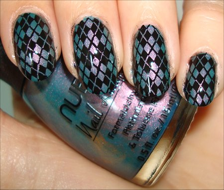 Nubar Indigo Illusion Swatches Argyle Nail Art