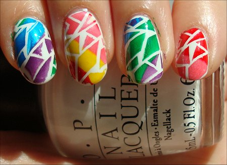 Rainbow Crackle Nail Art
