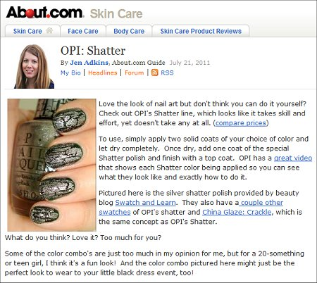 Swatch And Learn on About.com OPI Silver Shatter Swatch