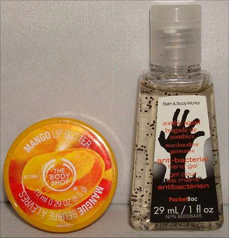 Bath & Body Works Zombie Squad Anti-Bacterial Gel & The Body Shop Mango Lip Butter