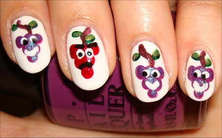 Bunches of Grapes Nail Art Smiles