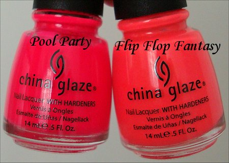China Glaze Flip Flop Fantasy China Glaze Pool Party Comparison