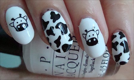 Cow Nails Nail Art Swatch