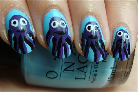 Cute Nail Art Octopus Nails & Tutorial