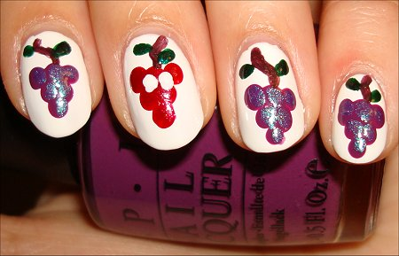 Grape Nail Art Tutorial Leaves