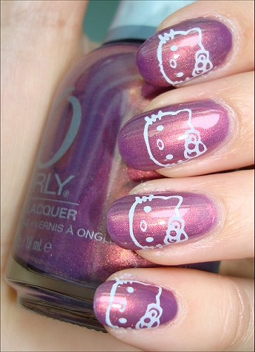 Hello Kitty Image Plate Nail Art Swatches