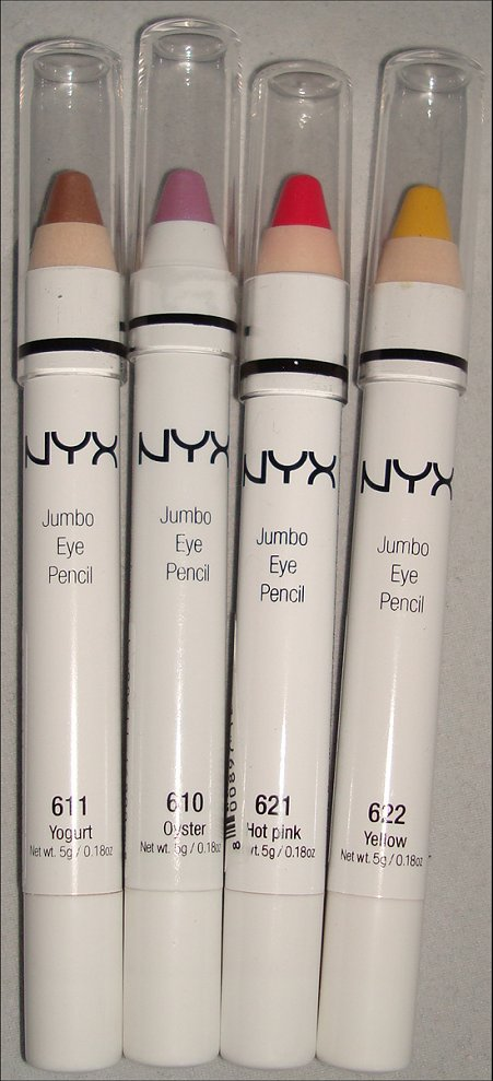 NYX Jumbo Eye Pencil Review Yogurt, Oster, Hot Pink & Yellow
