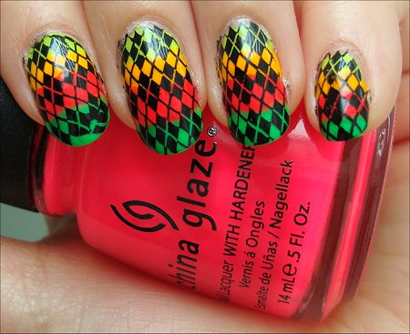 Neon Argyle Konadicure Tutorial Swatches