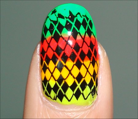 Neon Argyle Rainbow Nails Swatch