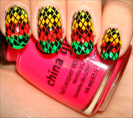 Neon Rainbow Argyle Nails Swatches