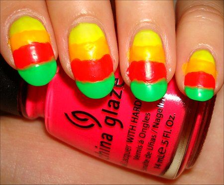 Neon Rainbow Argyle Nails Tutorial