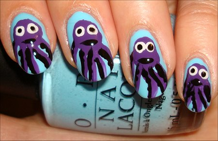 Octopus Sea Creature Nail Art Tutorial & Pictures