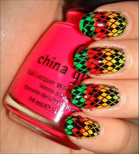 Rainbow Neon Argyle Nail Tutorial Konadicure Swatches