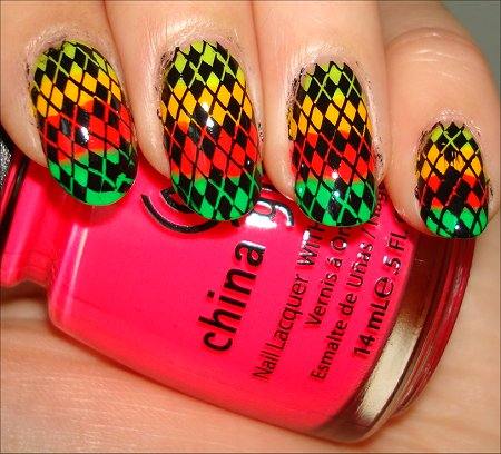Rainbow Neon Argyle Nails Tutorial Swatches