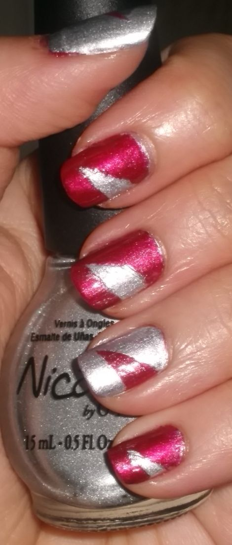 Image of Red &amp; Silver Swoop Nails 