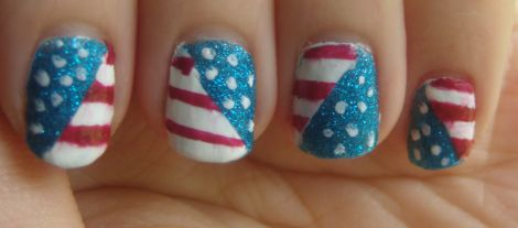 Image of Patriotic American Flag Nail Art