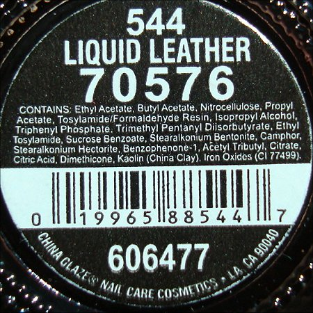 China Glaze Liquid Leather Ingredients
