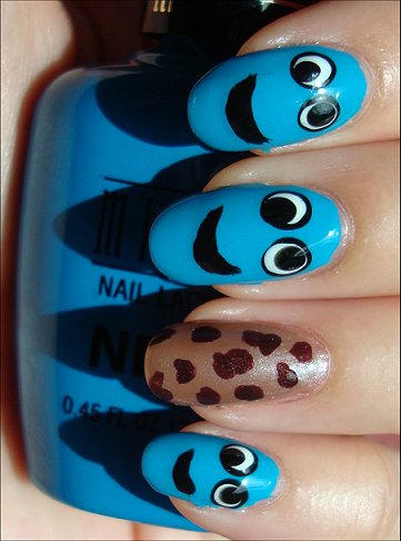 Cookie Monster Nails Nail Art Swatches