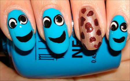 Cookie Monster Nails Tutorial & Swatches