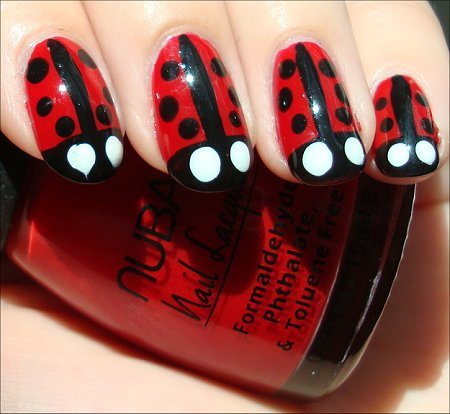 Lady Bug Nails Nail Art Tutorial