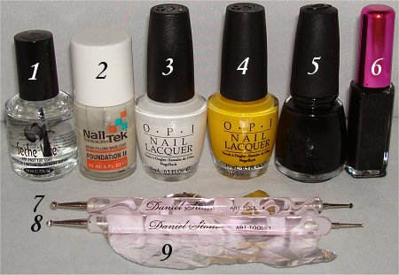 Bee Nail Art Tutorial Supplies