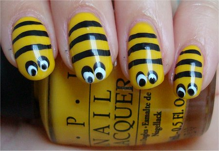 Bee Nails Nail Art Tutorial & Swatches