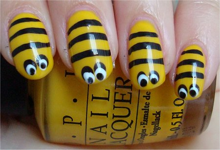 Honey Bee Nails Nail Art Tutorial