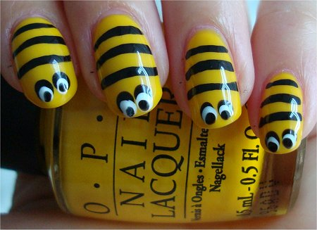 Nail art tutorial bee nails swatch and learn how to create bee nail art prinsesfo Image collections