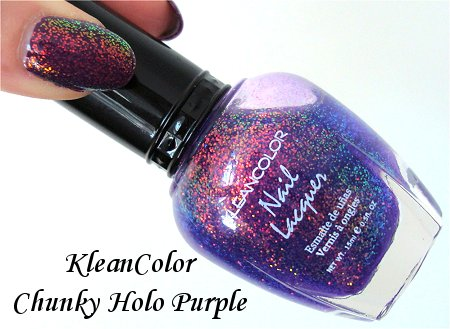 KleanColor Chunky Holo Purple Nail Polish Review & Swatch