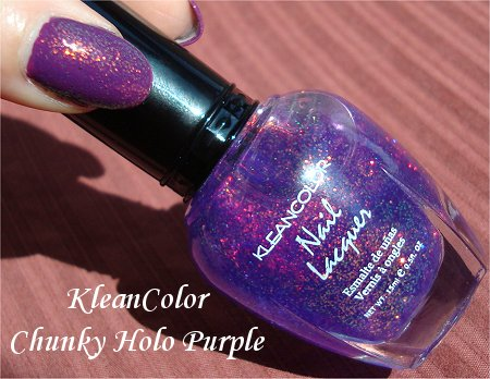 KleanColor Nail Polish Chunky Holo Purple Review & Swatch