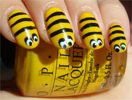 Nail Art Bee Tutorial &amp; Pictures